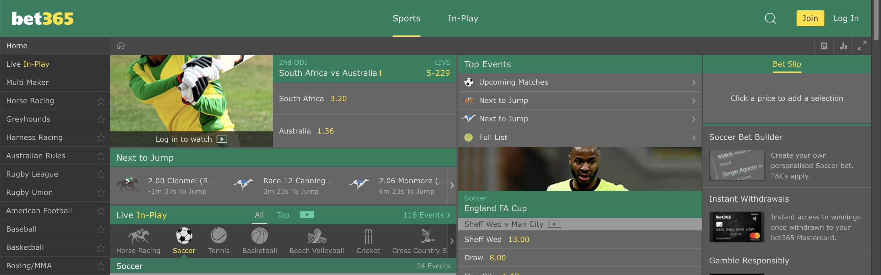 Bet365 Homepage Interface