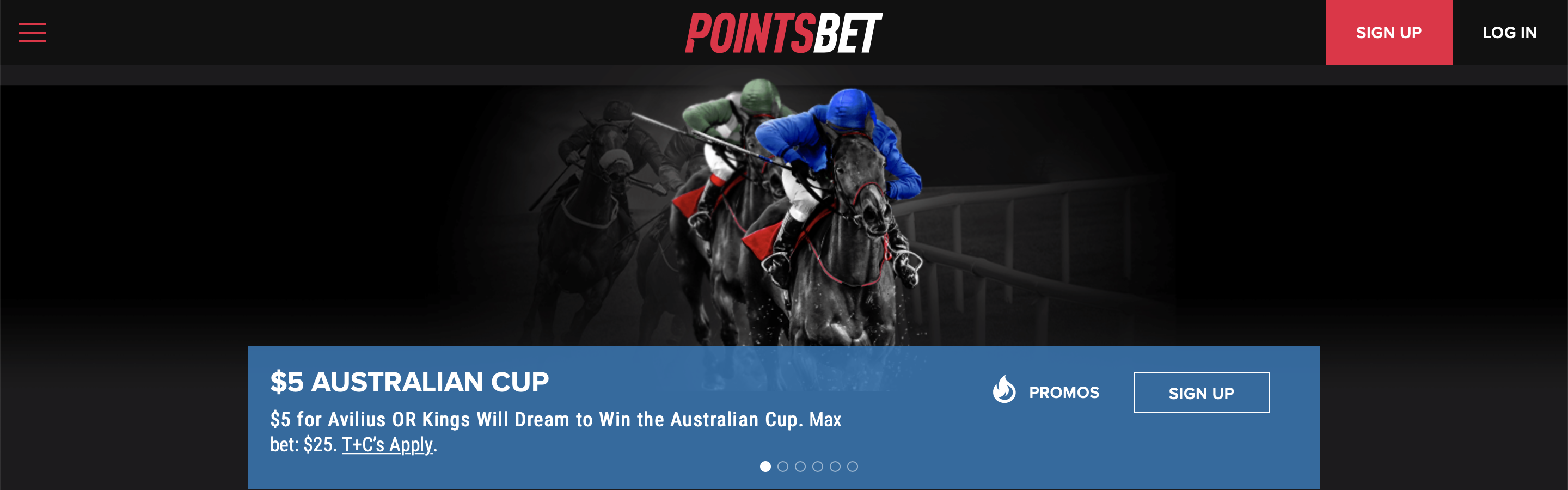 Pointsbet Homepage Interface