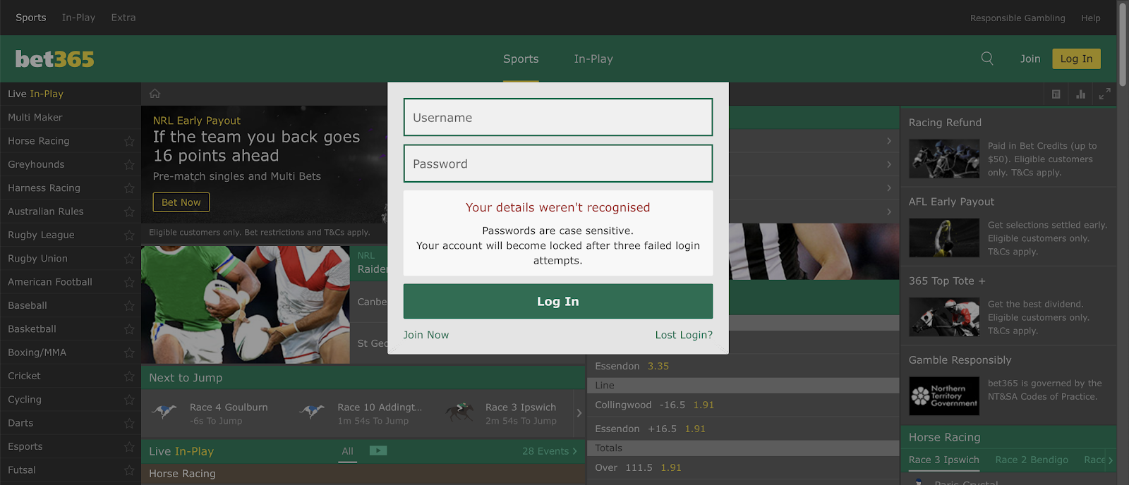 Bet365 Deleted Account