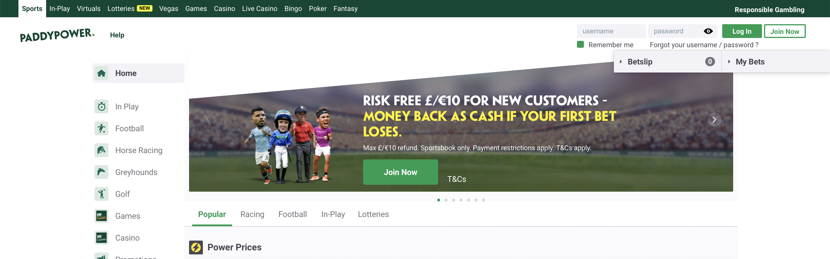 Paddy Power UK Betting Site