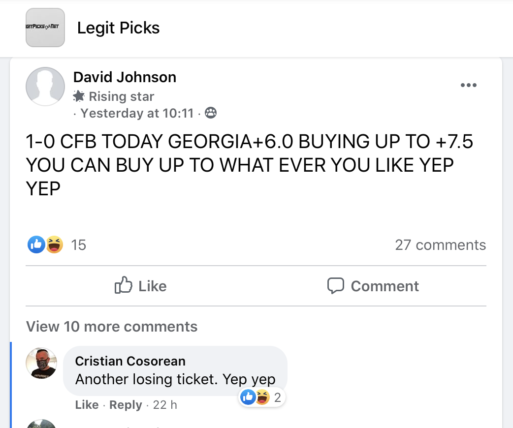 Legit Picks FB Group Bad Tips